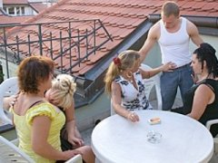 sexparty on the roof getting too hot for the outside world